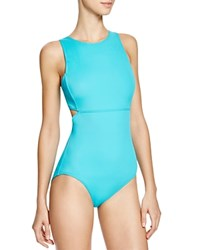 Dkny Street Cast Solids High Neck Cut Out Maillot One Piece Swimsuit Jade
