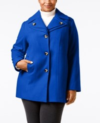London Fog Plus Size Single Breasted Peacoat Sapphire
