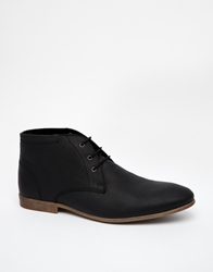 Asos Chukka Boots In Leather Black