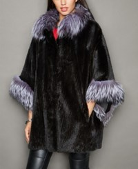 The Fur Vault Fox Fur Trim Knitted Mink Fur Cape