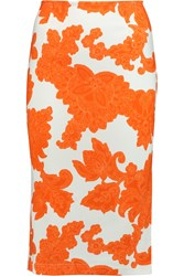 Tanya Taylor Peggy Printed Stretch Jersey Skirt Orange