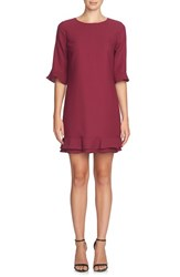Cece Petite Women's 'Kate' Ruffle Hem Shift Dress Deep Mulberry