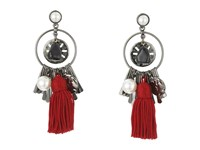 Oscar De La Renta Tassel Charm P Earrings Ruby Earring Red