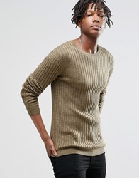 Asos Muscle Fit Jumper In Merino Wool Mix Bitter And Military Green