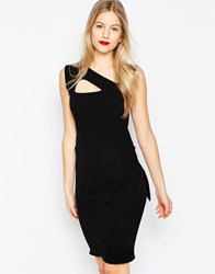 Honor Gold Midi Pencil Dress With Strappy Detail Black