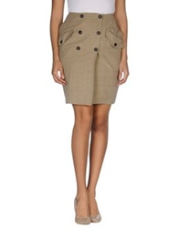 Tonello Knee Length Skirts Khaki