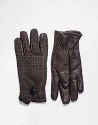 Peter Werth Leather And Check Gloves Brown