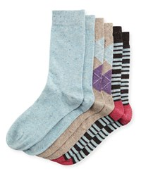 Neiman Marcus Three Pair Wardrobe Sock Set Assorted Blue