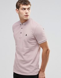 Asos Polo Shirt In Pink Pique With Button Down Collar With Logo Old Rose