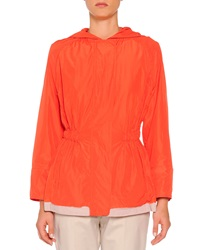 Piazza Sempione Hooded Painted Trimmed Anorak Orange