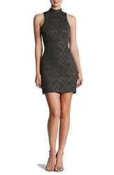 Dress The Population Women's 'Lisa' Mock Neck Embellished Body Con Charcoal Gold