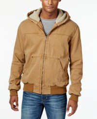 Bass By Ron Bass G.H. And Co. Men's Hooded Faux Sherpa Jacket Brown