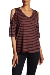 Stateside Striped Cold Shoulder Tee Red