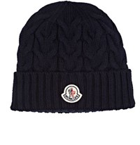 Moncler Men's Cable Knit Virgin Wool Beanie Navy