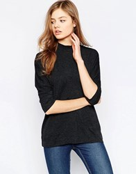 B.Young High Neck 3 4 Sleeve Top Dark Grey Melange