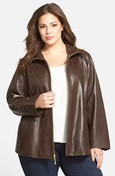 Leather A Line Coat Plus Size Brown