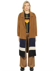 Mother Of Pearl Striped Wool Blend Coat