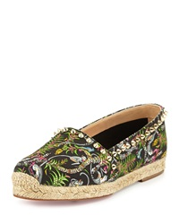 Christian Louboutin Ares Canvas Red Sole Espadrille Black Light Gold Multi