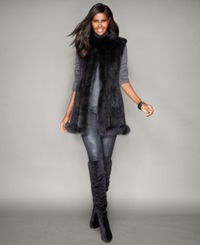 The Fur Vault Fox Trim Knitted Mink Fur Vest