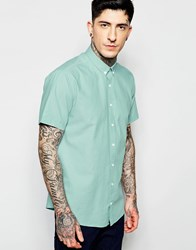 Lindbergh Oxford Shirt In Green Short Sleeves Mint Green