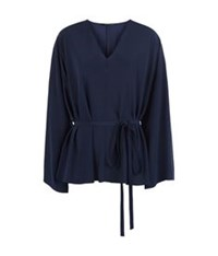The Row Staram Silk Tunic Top Navy