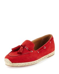 Christian Louboutin Leonell Suede Loafer Espadrille Red