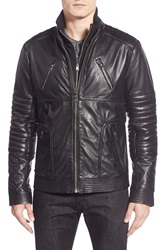 Lamarque Quilted Sleeve Leather Moto Jacket With Bib Insert Black
