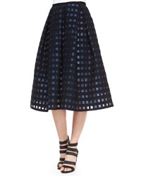 Erdem Ina Checked File Coupe Midi Skirt Ink Blue