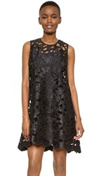 Cynthia Rowley Floral Lace A Line Dress Black
