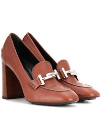 Tod's Double T Leather Loafer Pumps Brown
