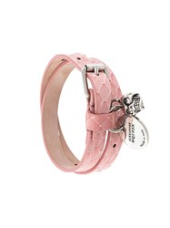 Alexander Mcqueen Double Wrap Skull Bracelet Pink And Purple
