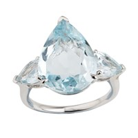 Emily Mortimer Jewellery Aqua Sky Blue Topaz Pear Ring Blue Silver