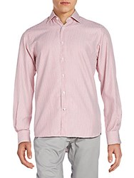 Saks Fifth Avenue Regular Fit Striped Cotton Sportshirt Red