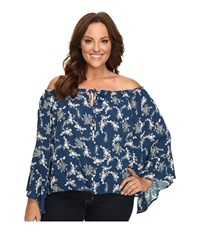 Christin Michaels Plus Size Iris Off The Shoulder Top With Front Tie Teal Multi Women's Clothing Blue
