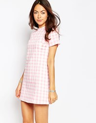 Motel Albey Dress In Pink Gingham Pink Gingham
