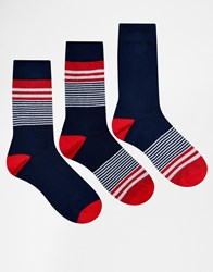 Asos Socks 3 Pack With Placement Stripes In Navy Navy