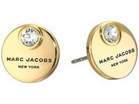 Marc Jacobs Mj Coin Studs Earrings Crystal Gold