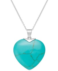 Macy's Manufactured Turquoise Heart Pendant Necklace In Sterling Silver 20 Ct. T.W.