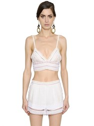 Alberta Ferretti Linen And Lace Crop Top