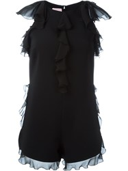 Giamba Chiffon Ruffled Playsuit Black