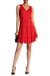 Donna Ricco Lace V Neck Dress Red