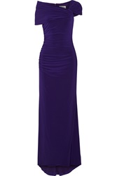 Badgley Mischka Draped Stretch Jersey Gown Purple