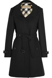 Burberry Brit Leather Trimmed Wool Blend Twill Coat Black