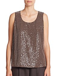 Lafayette 148 New York Cleo Sequined Front Silk Georgette Tank Chestnut