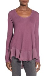 Junior Women's Sun And Shadow Chiffon Hem Tee Purple Grapeade