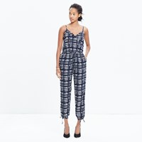 Madewell Faux Wrap Cami Jumpsuit In Brushstroke Plaid