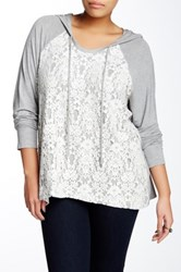 Eyeshadow Hooded Scoop Neck Lace Overlay Knit Pullover Plus Size Gray