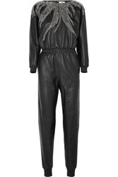 Saint Laurent Crystal Embellished Leather Jumpsuit Black