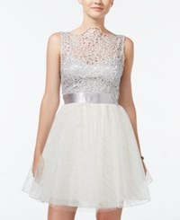 Trixxi Juniors' Lace Tulle Fit And Flare Skirt Silver White
