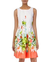 Chetta B Floral Print Sleeveless Fit And Flare Dress White Neon